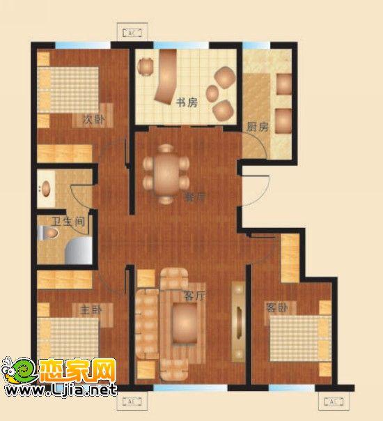 四室一厅一厨一卫房屋设计图平面图