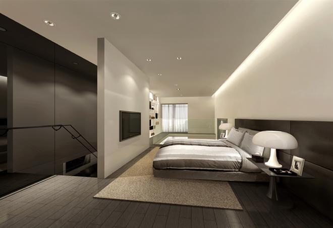 元一柏庄loft单身公寓商务楼卧室效果图;