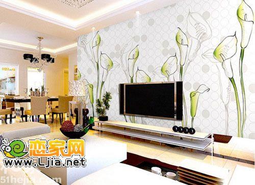 黑白手绘电视背景墙