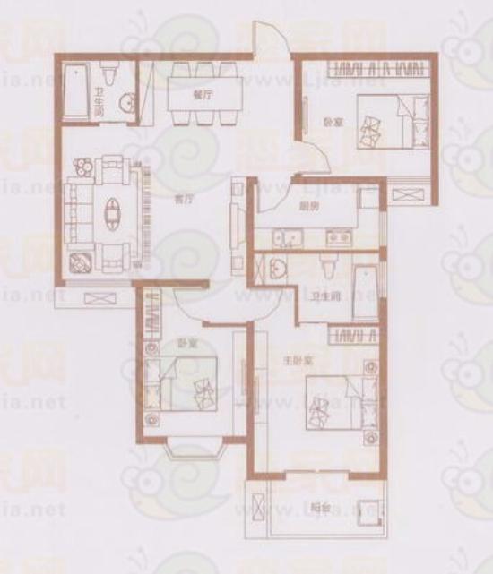 汉成华都120平米,三室两厅两卫户型