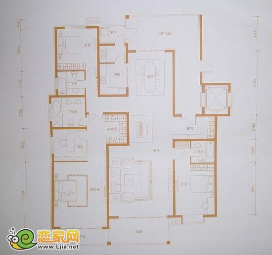 赵都华府经典a2户型 四室两厅三卫 约231.4㎡ 独栋别墅平层户型