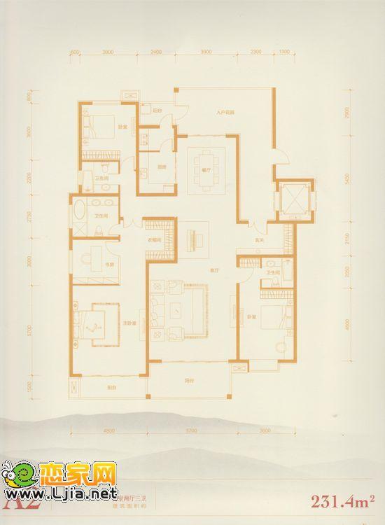 赵都华府a2户型 四室两厅三卫 231.4平米