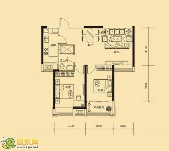 金百合东3#楼b户型 两室两厅一卫 89.31㎡