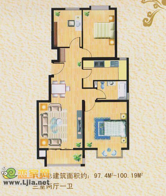 建筑面积约100平米 三室二厅一卫图片