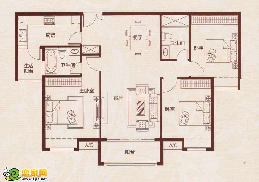 龙湖公馆15号楼户型 三室两厅两卫 建筑面积约:120.8㎡