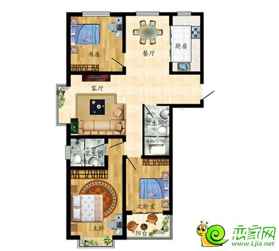 三室两厅两卫南北通透装修设计图100平展示图片