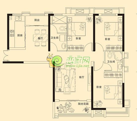 金百合135㎡的三室两厅两卫全明户型