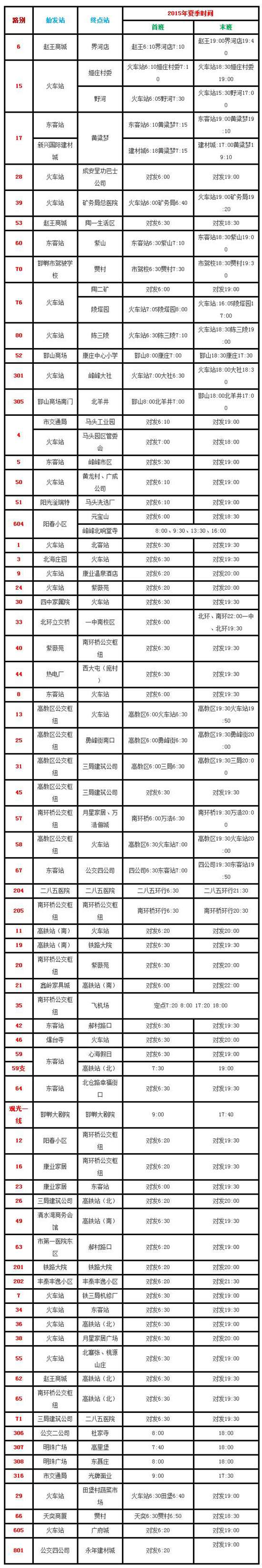 邯郸:夏季夜间公交车时刻表汇总