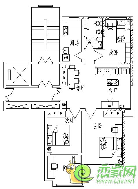 三室二室两卫装修电路图