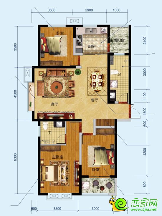 北湖十六峯135平米三室两厅两卫户型图