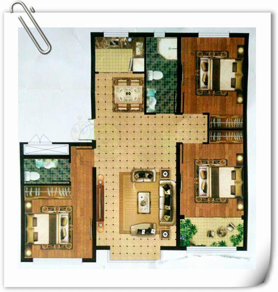万浩红玺城 136平米三室两厅两卫户型图