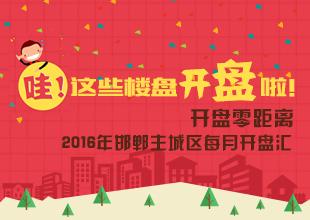 开盘零距离:2016年邯郸市主城区每月开盘汇