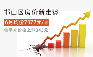 邯山区6月均价7372元/�O,每平米价格上涨343元